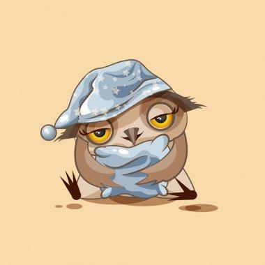 sleepy owl in nightcap with pillow