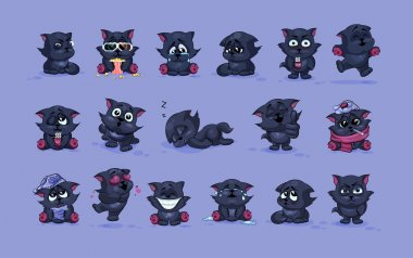 isolated Emoji character cartoon black cat stickers emoticons with different emotions
