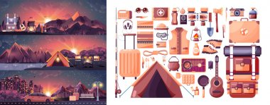 illustration set of day landscape, mountains, sunrise, travel, hiking, nature, tent, campfire, pot, big tourist backpack, camping, car, city daylife, bench, luggage, tour in flat style