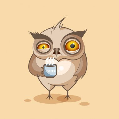 isolated Emoji character cartoon owl nervous with cup of coffee sticker emoticon