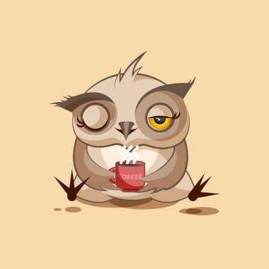 isolated Emoji character cartoon owl just woke up with cup of coffee sticker emoticon