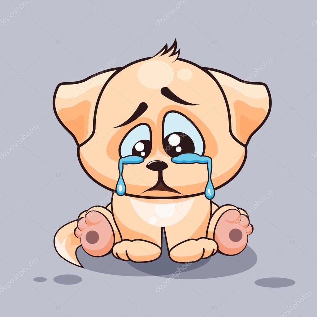 Cartoon Characters Crying : Isolated emoji character cartoon sad and frustrated dog