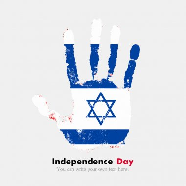 Handprint with the Flag of Israel in grunge style
