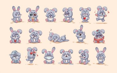 isolated Emoji character cartoon Gray leveret stickers emoticons with different emotions