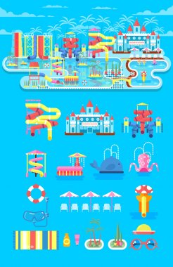 illustration set elements water park