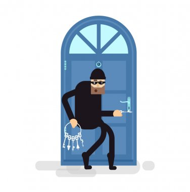 isolated illustration thief, burglar sneaks to door, attacker holding bunch of skeleton keys