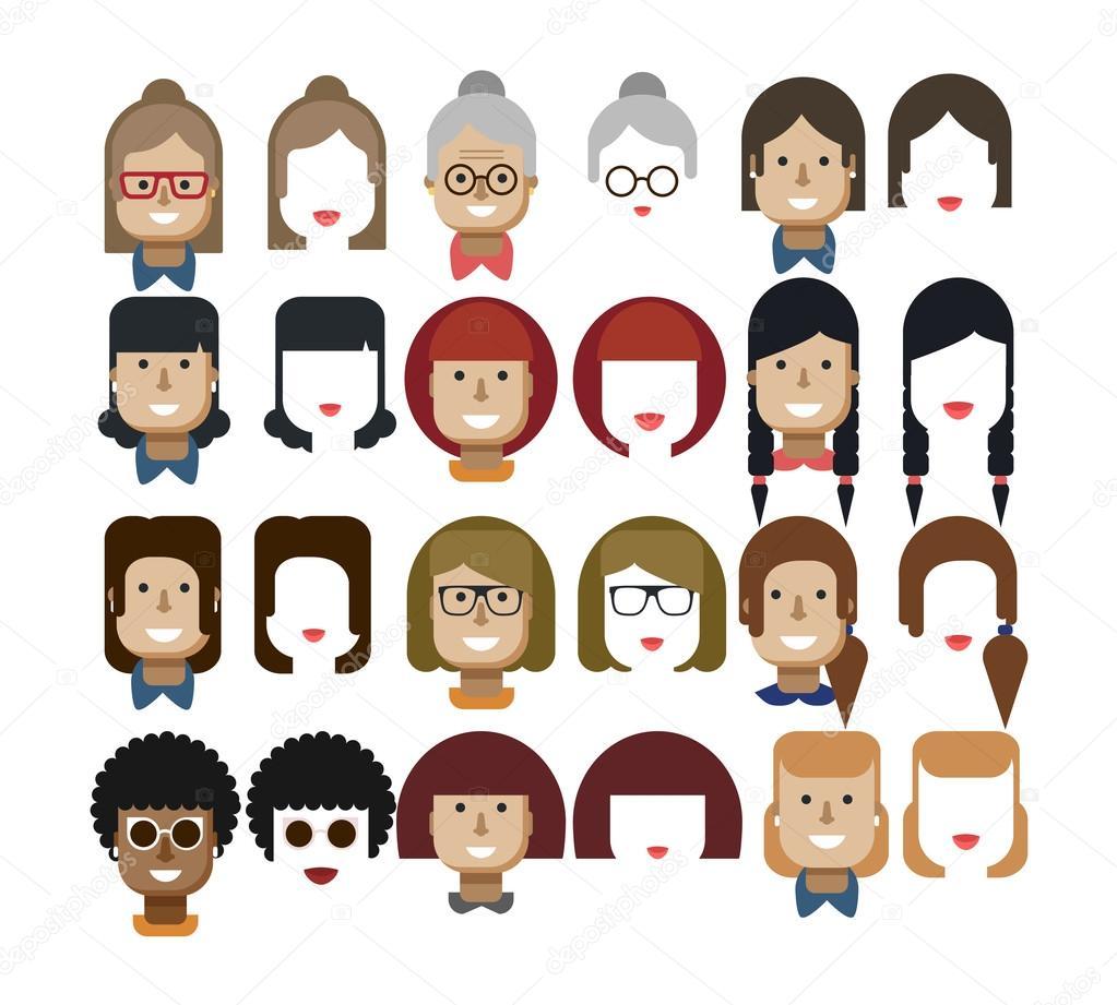 Abbildung Set Avatare Frauengesichter Design Elemente Frisuren