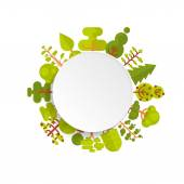 Fotografia illustration of bare circle banner or round sticker with trees and bushes located along the rim on a white background in  flat style