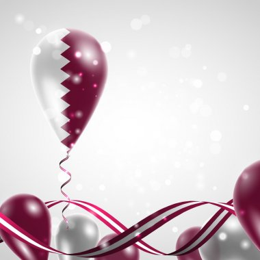 Flag of Qatar on balloon
