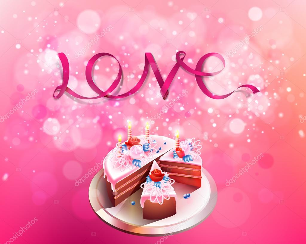 Vector inscription love pink ribbon with big cake