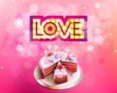 Amore delliscrizione delloro di vettore con incandescente lampade tagliato su una grande torta di fondo rosa
