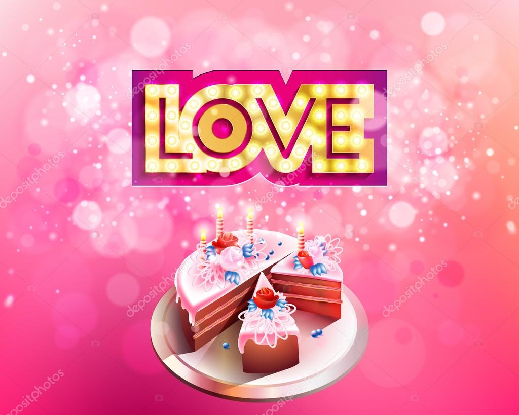 Vector gold inscription love with glowing lamps cut on a pink background big cake