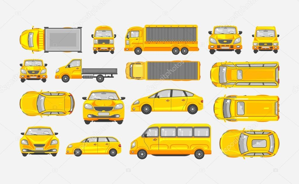 Set cars hatchback, delivery truck, light truck with trailer, minibus, sedan top, front, side view