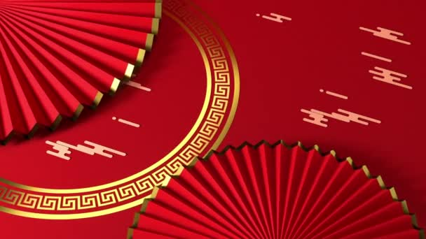 Red Chinese style fan, traditional decoration, 3d rendering.