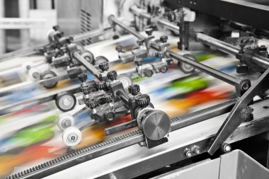 Offset printing machine stock vector