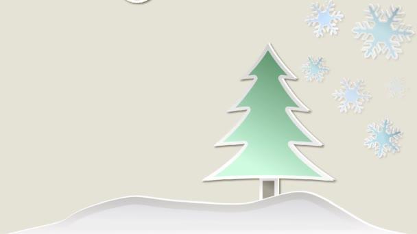 Vánoční animace s strom, sněhové vločky, dekorace a hvězdy