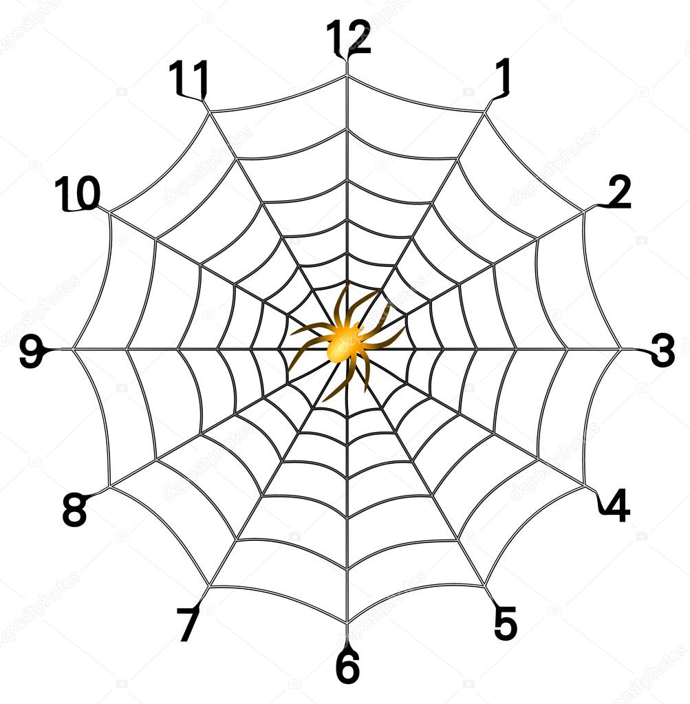 Formato vectorial de esfera de reloj web simple araña con araña de ...