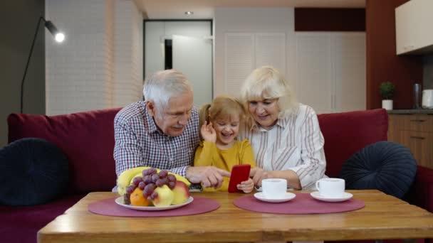 Kleines Kind Mädchen mit Großeltern, die per Internet-Webcam Videoanruf-Chat-App auf dem Smartphone sprechen