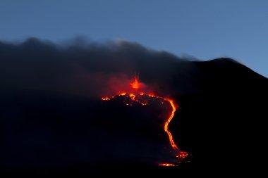 Volcano eruption of night