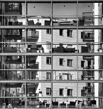 Abstract architectural exterior photo in Black and white, contemporary exterior, modern apartment scene, architecture, architectural details, exterior fragment, urban fragment photo, conceptual photo