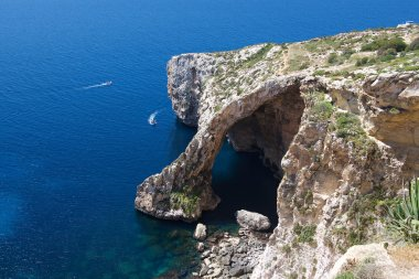 Nice Blue Grotto view in Malta island with clear blue sea background, touristic destination in Malta, Blue Grotto, popular place in Malta, Malta, maltese nature, Europe