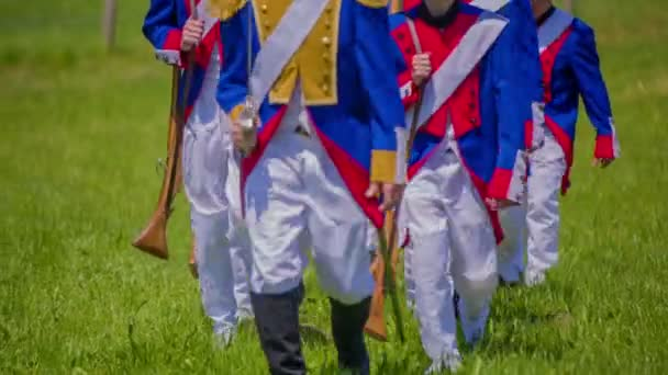 The soldiers in Napoleon army marching into historical battle