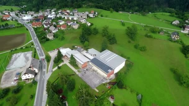 view on countryside school with solar panels