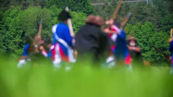 Rekonstrukce bitvy mezi Francouzská armáda a armáda