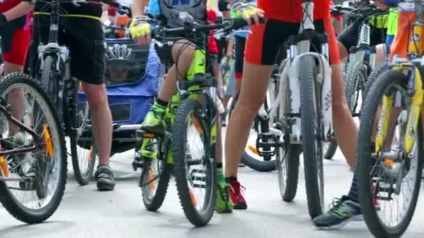 Várakozás indításra a verseny kerékpár
