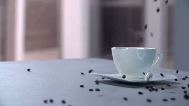 Cup  with  beans falling