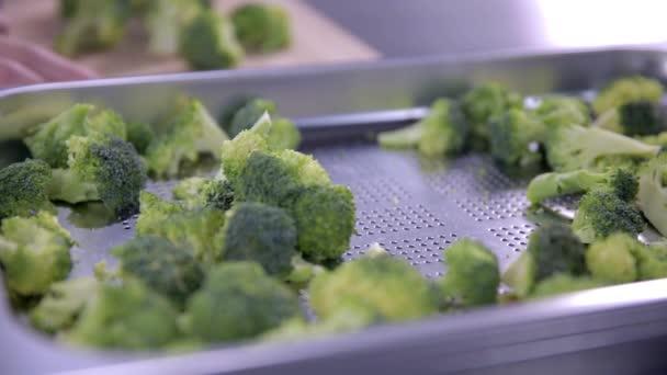 žena Putting kousky brokolice