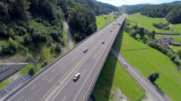 Aerial shoot of a highway and motorway