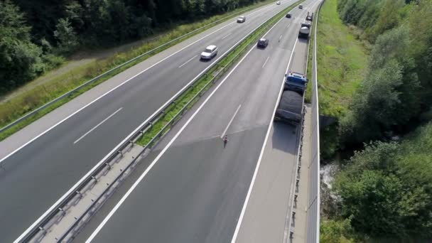Aerial shoot of a traffic on a highway