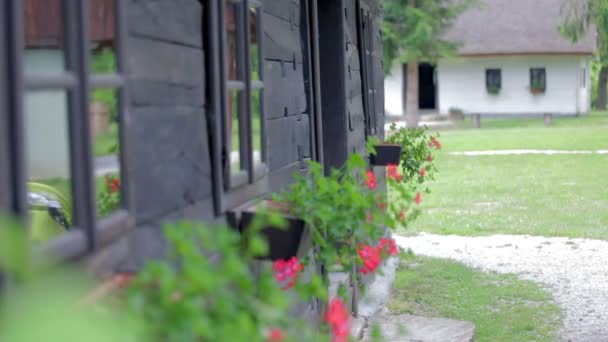 Historic wooden village house with flowers