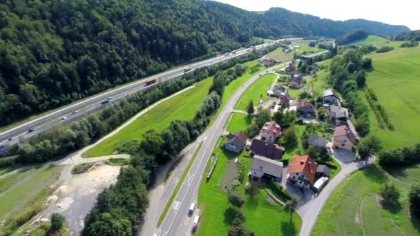 Aerial shoot of a highway road in a valley