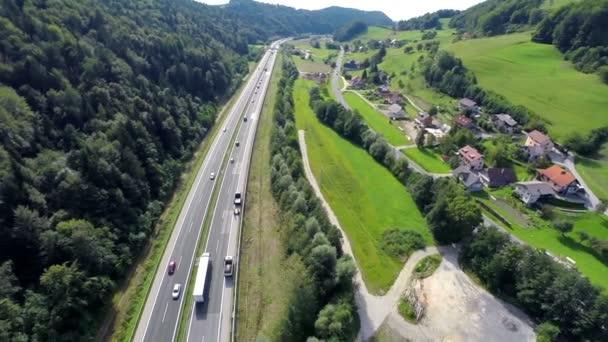 Highway traffic road near a village
