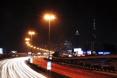 Roads At Night In Dubai