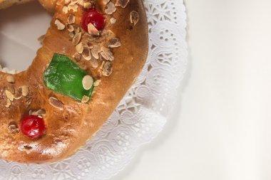 Kings cake, Roscon de Reyes, spanish traditional sweet to eat i