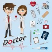 Cartoon-Arzt mit medizinischen Instrumenten