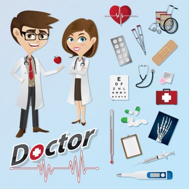cartoon doctor with medical instruments