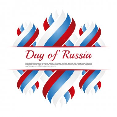 Frame with ribbons in blue-red-white colors to the day of Russia