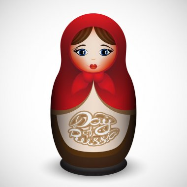 Vector illustration of Russian nested doll with text to the Day