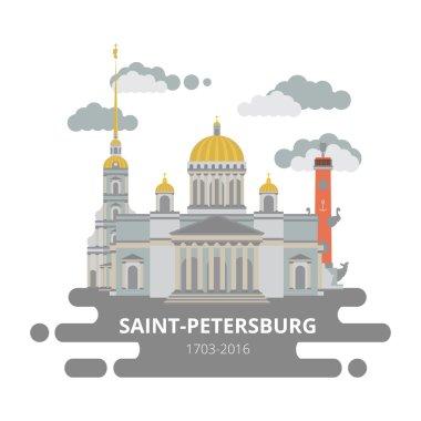 Saint-Petersburg flat cityscape. Vector set.