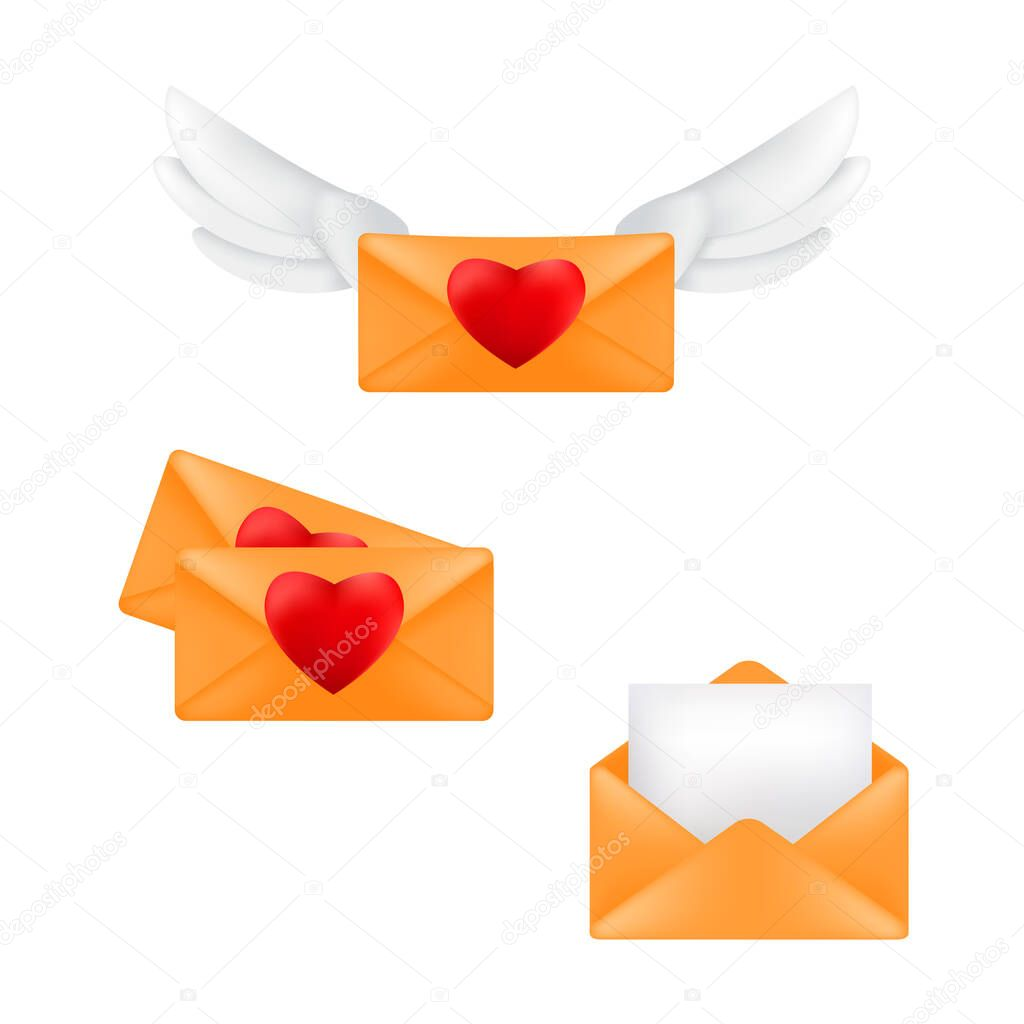 Set of yellow envelopes with heart stamps and angel wings isolated on a white background icon