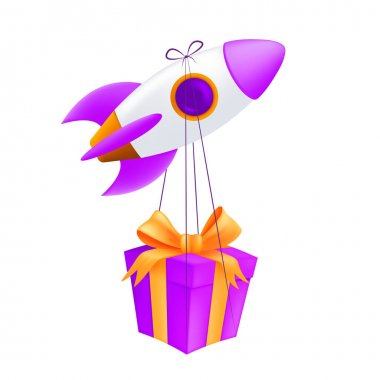 A flying rocket delivering gift box. Vector illustration of a pink spaceship with the wrapped box express delivery concept isolated on a white background icon