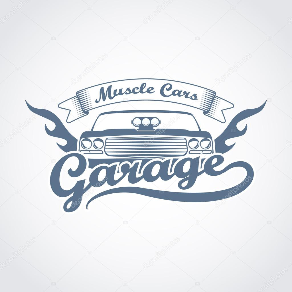 vintage car garage service logo muscle cars tuning badge
