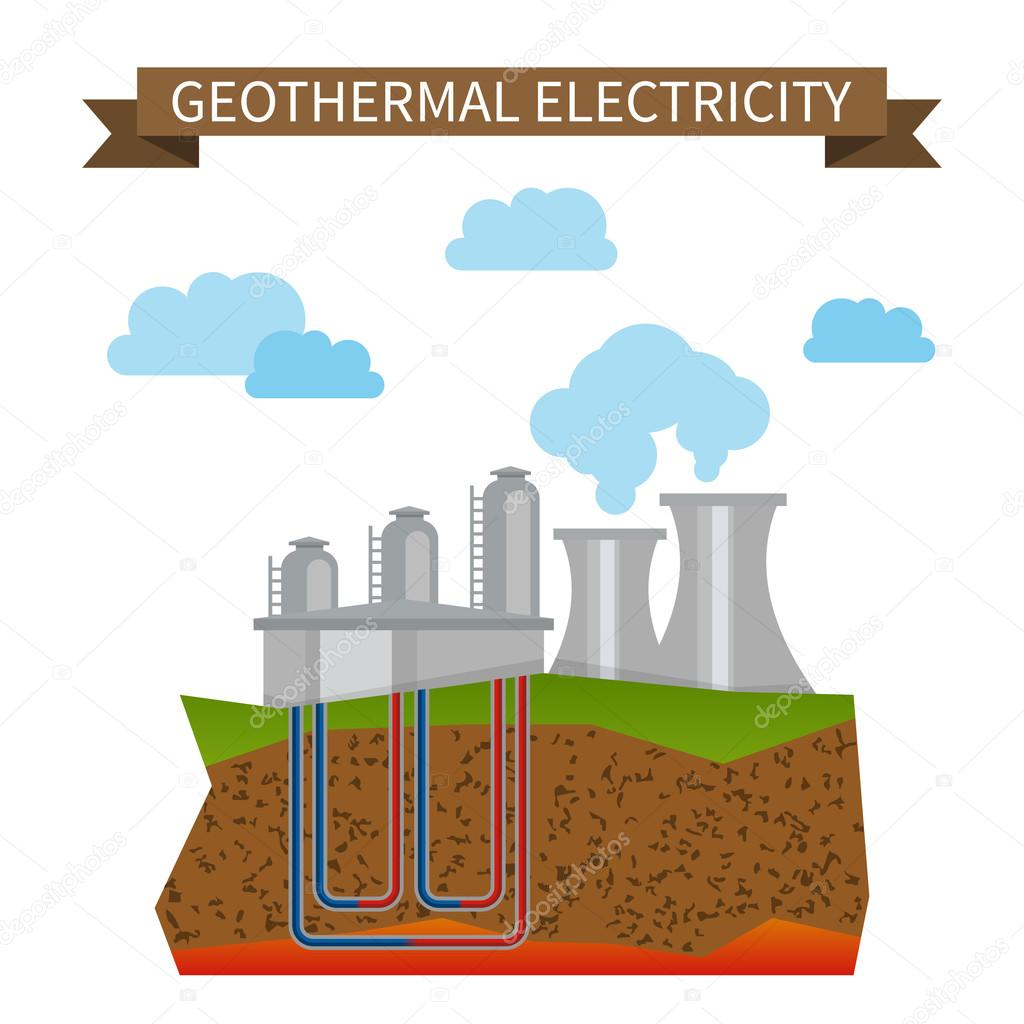 geothermal alternative electricity vector icon