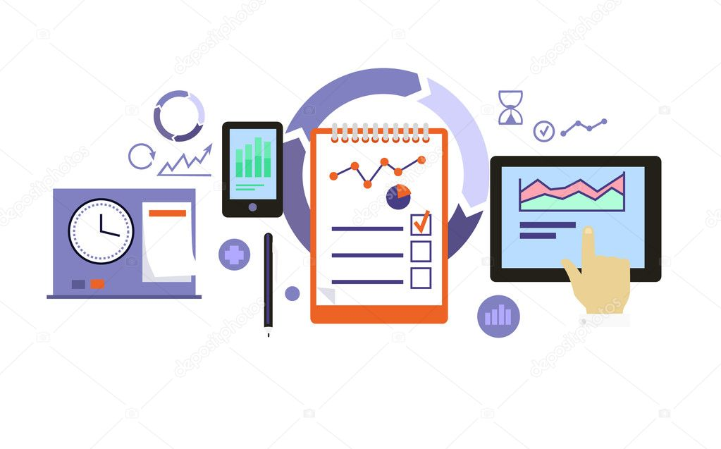 Planning process icon flat design vetor de stock robuart 102004100 planning process icon flat design vetor de stock ccuart Choice Image