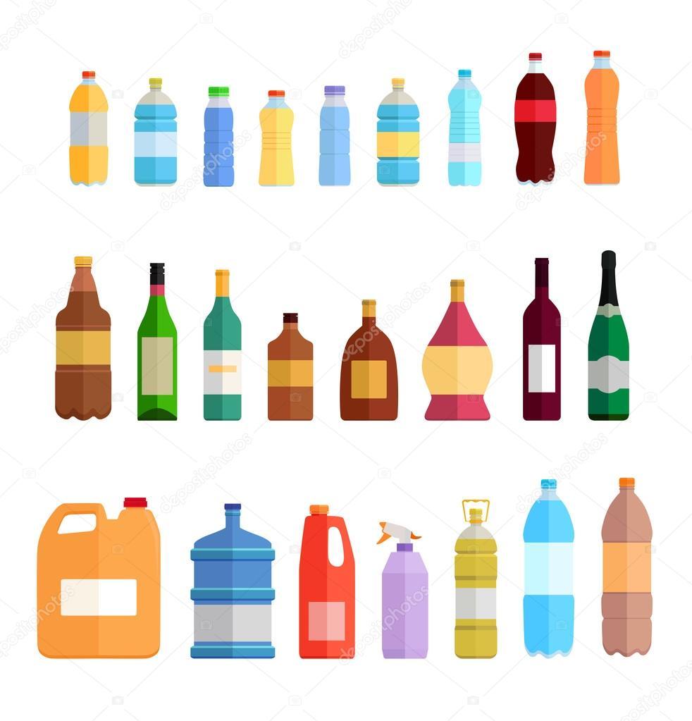 bottle set design flat oil and beverage ストックベクター robuart