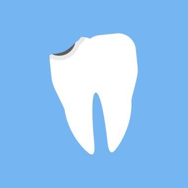 Broken White Tooth Design Flat